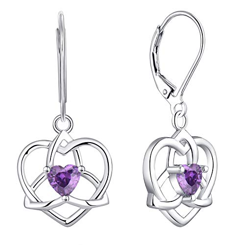 JO WISDOM Women Earrings,925 Sterling Silver Heart Triquetra Celtic Trinity Knot Drop & Dangle Earrings with Heart Cut 3A Cubic Zirconia February Birthstone Amethyst Color