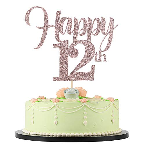Lveud Flash Rose Gold Birthday Wedding Anniversary Special Holiday Anniversary Cake Topper Happy 12th Cake Topper 12 Buy Online In Maldives At Desertcart