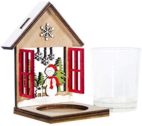 NewbieBoom Kerzenständer Teelichthalter Weihnachten Holzhaus Teelicht Dekorationen Kerzenhalter Home Hochzeit Restaurant Dekorationen Handwerk Raum Dekor, A1,A1