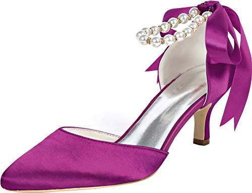 Señoras señaló el dedo del pie resbalón en D-Orsay vestido boda OL...