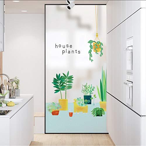 Djkaa Statische raamfolie, vorst, ondoorzichtig, ondoorzichtig, glas, zelfklevend, decoratie thuis, digitale print, groene planten 60*90cm(23.62*35.43 Inch)