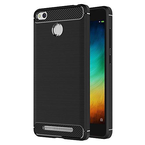 ivoler Funda para Xiaomi Redmi 3 / 3S / 3S Pro / 3S Prime, Diseño de Fibra de Carbon Ultra Fina TPU Silicona Carcasa Fundas Protectora con Shock- Absorción - Negro
