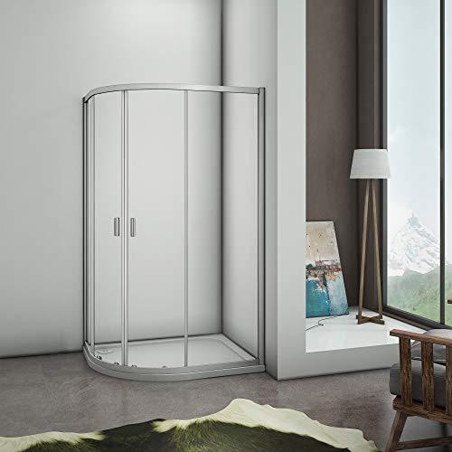 Mamparas de ducha Semicircular Puerta Corredera Gris Mate 5mm 90x120x185cm