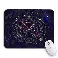 NINEHASA 可愛いマウスパッド スペース上の神秘的な幾何学シンボル線形錬金術オカルト哲学ノンスリップゴムバッキングノートブックコンピューター用マウスパッドマウスマット