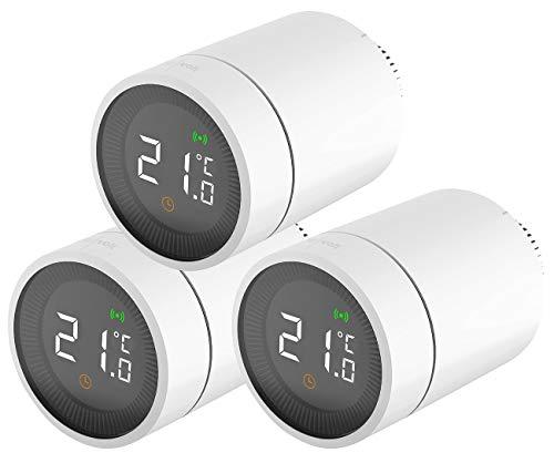 revolt Smart Thermostat: 3er-Set smarte Heizkörperthermostate mit App- und Sprachsteuerung (Thermostat Heizung)