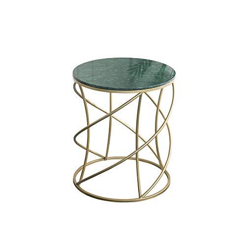 XLEVE Tejer Ronda Creativa de Oro Metal mármol café Fin Tablas de Almacenamiento de la Placa de la Bandeja Principal Muebles de Sala Sofá Lateral de Noche (Color : A)
