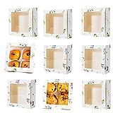 HPiano 20 Pezzi Scatole per Muffin con Finestra,Adesivo di Chiusura in Omaggio, con Finestra Trasparente per Quattro Cupcake per Finestra, per Cibo, Biscotti, Pane, Caramelle, Scatole Regalo Cartone
