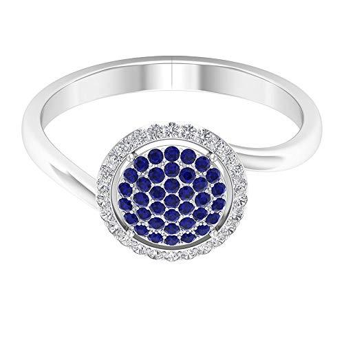 Anillo de racimo de zafiro azul de 1/4 ct, HI-SI, anillo de compromiso antiguo, anillo de boda de piedra natal de septiembre, anillo de cóctel para mujeres, 14K Oro blanco, Size:EU 48