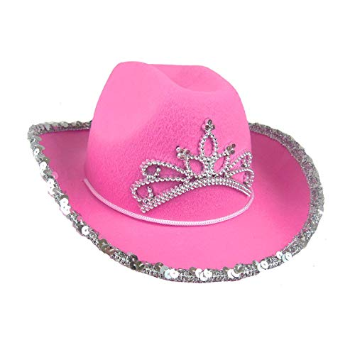 Rhode Island Novelty Child Pink Cowboy Hat with Blinking Tiara (1-Pack)