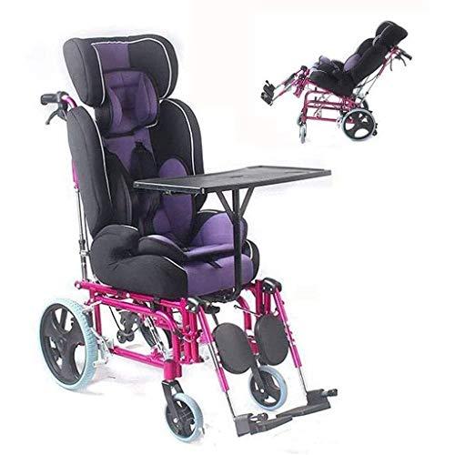 Silla de ruedas plegable para niños, cojín de asiento transpirable que se acuesta plegable, asiento de seguridad para automóvil, asiento de seguridad de camarero con respaldo alto con mesa de comedor