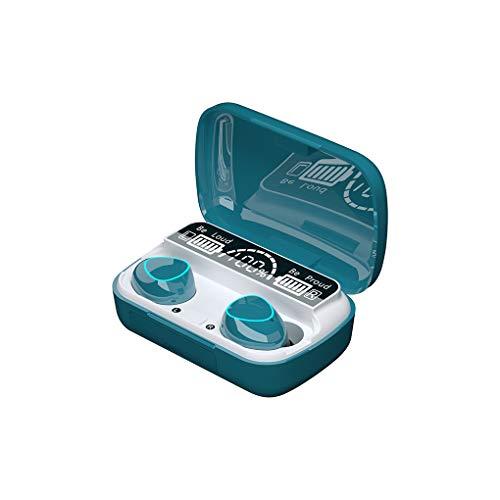 wanzhaofeng 4pcs Auriculares inalámbricos Bluetooth 5.0 Auriculares de los Auriculares a Prueba de Agua portátiles para Deportes, LCD Grande, de Color Verde Oscuro