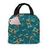 Lawenp Bolsa de almuerzo para buceadores y pirañas para mujeres, niñas, niños, bolsa de picnic aislada, enfriador térmico, bolsa grande para preparación de comidas, bonita bolsa grande a prueba de f