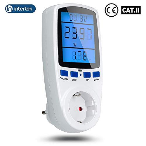 Energiekostenmessgerät mit LCD Bildschirm, VIBIRIT Nachtsicht Stromverbrauchszähle 7 Funktionen Leistungsmessgerät Wattmeter Verwendung Meter mit Überlastsicherung