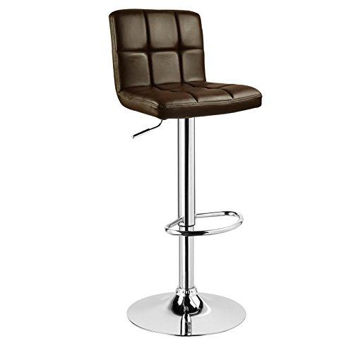 WOLTU® 1 x Barhocker Barstuhl Tresenhocker Stuhl drehbar und höhenverstellbar Tresen Hocker Kunstleder Braun 9106-1