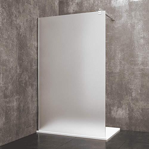 Parete Doccia Fissa Walk In Dacca Cabina Box Bagno Con Con Barra Stabilizzatrice Anta In Cristallo Temperato Satinato da 8 mm Reversibile Profilo A Muro In Alluminio Anodizzato (80 x 195 cm)