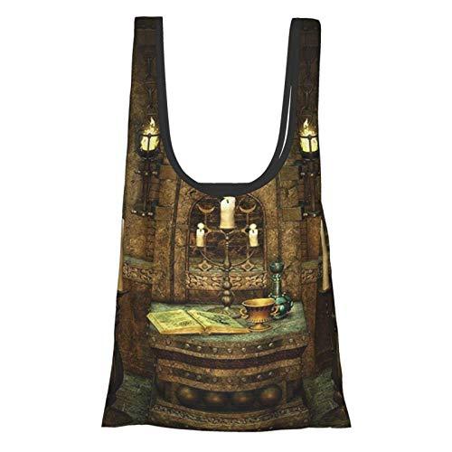 Hdaw Hausdekor A mit Altar im Fantasy-Stil Zaubersprüche Spiritualität Pentagramm Symbole und Kerzen braun wiederverwendbar faltbar umweltfreundlich Einkaufstaschen