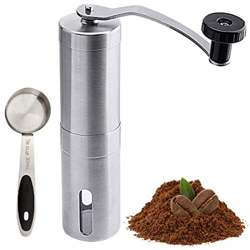 Manual Coffee Grinder Portable Hand Coffee Grinder with Adjustable Setting Stainless Steel Handle, Suitable for Camping and Home Use Hand Crank Mill for Drip Coffee, Espresso, French Press, Turkish Brew