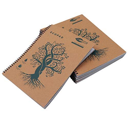 Cuaderno Espiral (Pack de 5) - A4 Cuaderno Papel Reciclado 60GSM con Líneas 160 Páginas / 80 Hojas Ecológico Tapa Marrón Kraft Escribir Casa, Oficina Estudiantes