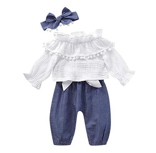 Jimmackey Neonato Bambino Camicia Volant Floreali T-Shirt Manica Lunga Vestiti + Pantaloni + Fascia 3Pcs Abiti Set