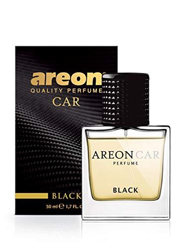 AREON Car Perfume 1.7 Fl Oz. (50ml) Glass Bottle Cologne Air Freshener for Cars, Black