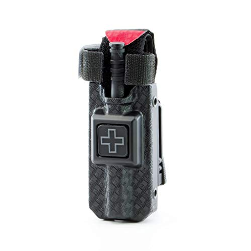 RIGID TQ Case for Generation 7 C-A-T Tourniquet, Belt (Tek-Lok) Attachment. Fits Generation 7 and Previous Versions of the CAT Tourniquet (Tourniquet Not Included) (Basketweave Black with Gray Cross)