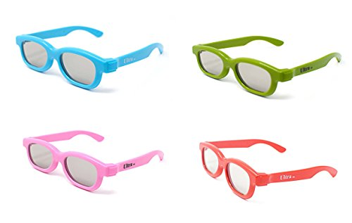 4 Pairs Mixed Passive 3D Glasses for Children 1 Blue 1 Green and 1 Pink and...