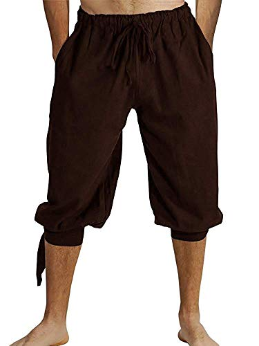 Mens Banded Shorts Lace Up Medieval Renaissance Viking Pirate Mercenary Gothic Costume Pants Cosplay Trousers Brown