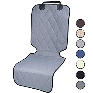 Vivaglory Large Dog Bucket Seat Cover with No-Skirt Design, Quilted & Durable 600 Denier Oxford Pet Front Seat Cover with Anti-Slip Backing, Fits Most Cars, SUVs & MPVs, Grey