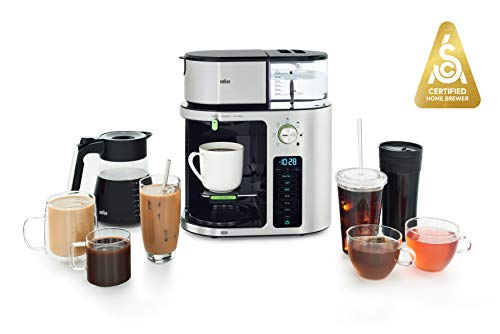 Braun MultiServe Coffee Machine 7 Programmable Brew Sizes / 3 Strengths + Iced Coffee & Hot Water for Tea, Glass Carafe (10-Cup), Stainless Steel, KF9170SI