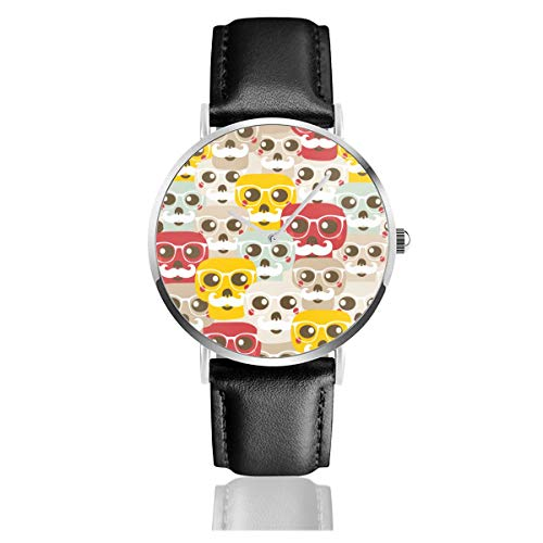 Seamless Pattern with Funny Skulls Black Quartz Movement Stainless Steel Leather Strap Watches Casual Fashion Wrist Watches