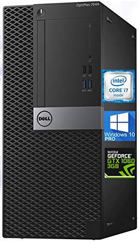 Dell Optiplex 7040 Mini-Tower Desktop PC, Intel Quad Core i7-6700 4.0 GHz, 32GB DDR4, 512GB NVMe SSD Hard Drive, GeForce GTX 1060 3GB, DisplayPort, HDMI, Windows 10 Pro (Renewed)