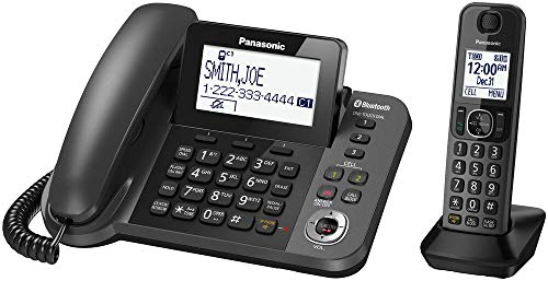 Panasonic KX-TGF380M Link2Cell Bluetooth Corded/Cordless Call Block Phone - Answering Machine with 1 Cordless Handset with Talking Caller ID (Renewed)