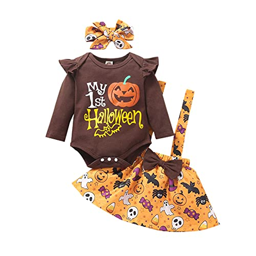 Baby Girl Halloween Outfits Toddler Lovely Print Ruffle Long Sleeve Romper Suspender Skirt with Headband 3pcs