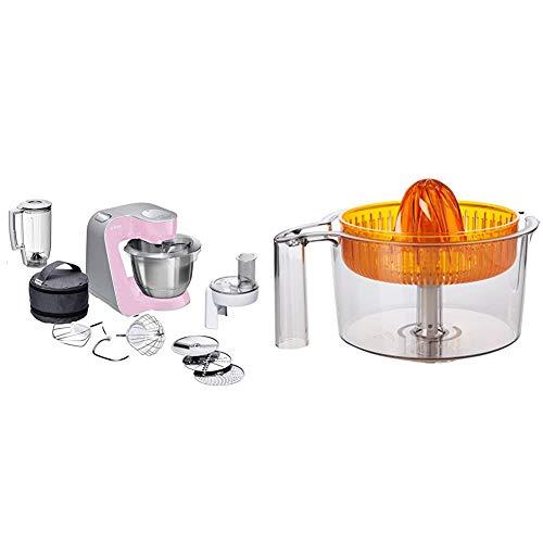 Bosch CreationLine MUM58K20 - Robot de cocina, 1000 W, recipiente de 3.9 litros, color rosa y plateado + MUZ5ZP1 Exprimidor para robots de cocina Bosch MUM5, color naranja