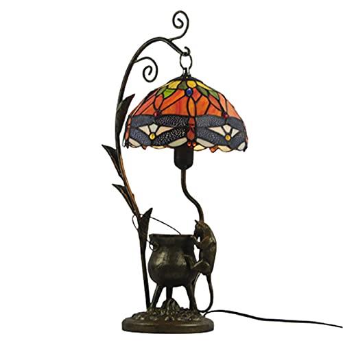 DIMPLEYA Vidrieras Lámpara de Mesa de Cristal de Estilo de Cristal, Tiffany 24 Pulgadas Antigua lámpara de Noche, lámparas de Lectura Lámparas de salón Dormitorio