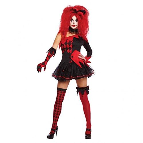 amscan femmes jesterina costume femme déguisement Filou costume soirée - Noir/Rouge, Taille UK - Petit - 8-10