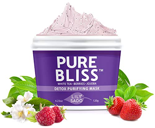LILY SADO PURE BLISS Berries + White Tea Face Mask - Natural Facial Mask for Acne, Oily Skin & Blackheads - Anti-Aging Defense for Wrinkles, Undereye Dark Circles - Best Facial Pore Reducer - 4.23 oz