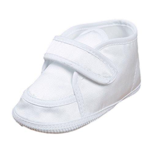 Festliche Babyschuhe für Mädchen oder Jungen Taufschuhe klassisch mit Klettverschluss Satin weiß Modell 015/107 (17(3-6 M.))