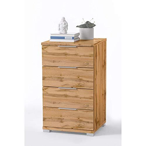 Universal Nachttisch in Wildeiche Optik - Moderner Nachtschrank mit vier Schubladen für Ihr Boxspringbett - 46 x 79 x 42 cm (B/H/T)