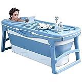 KJRJCQ Faltbare Badewanne bewegliches Badezimmer Whirlpool for Erwachsene Baby-Kleinkinder, Soaking Tub in Duschkabine SPA Badekorb, Doppel Drains, PP und TPE-Material, 10kg (Color : Blue)