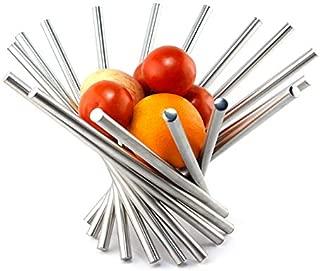 PENGKE Creative Stainless Steel Rotation Fruit Bowl,Fruit Basket Fruit Stand Fruit Holder For Kitchen Storage Rack,Silver