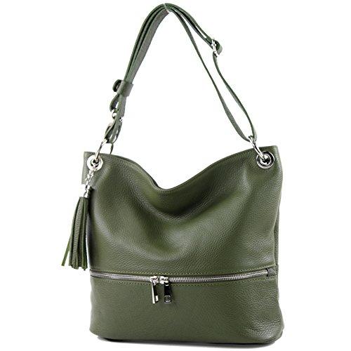 modamoda de - T143 - ital Schulter-/Umhängetasche aus Leder, Farbe:Olivgrün