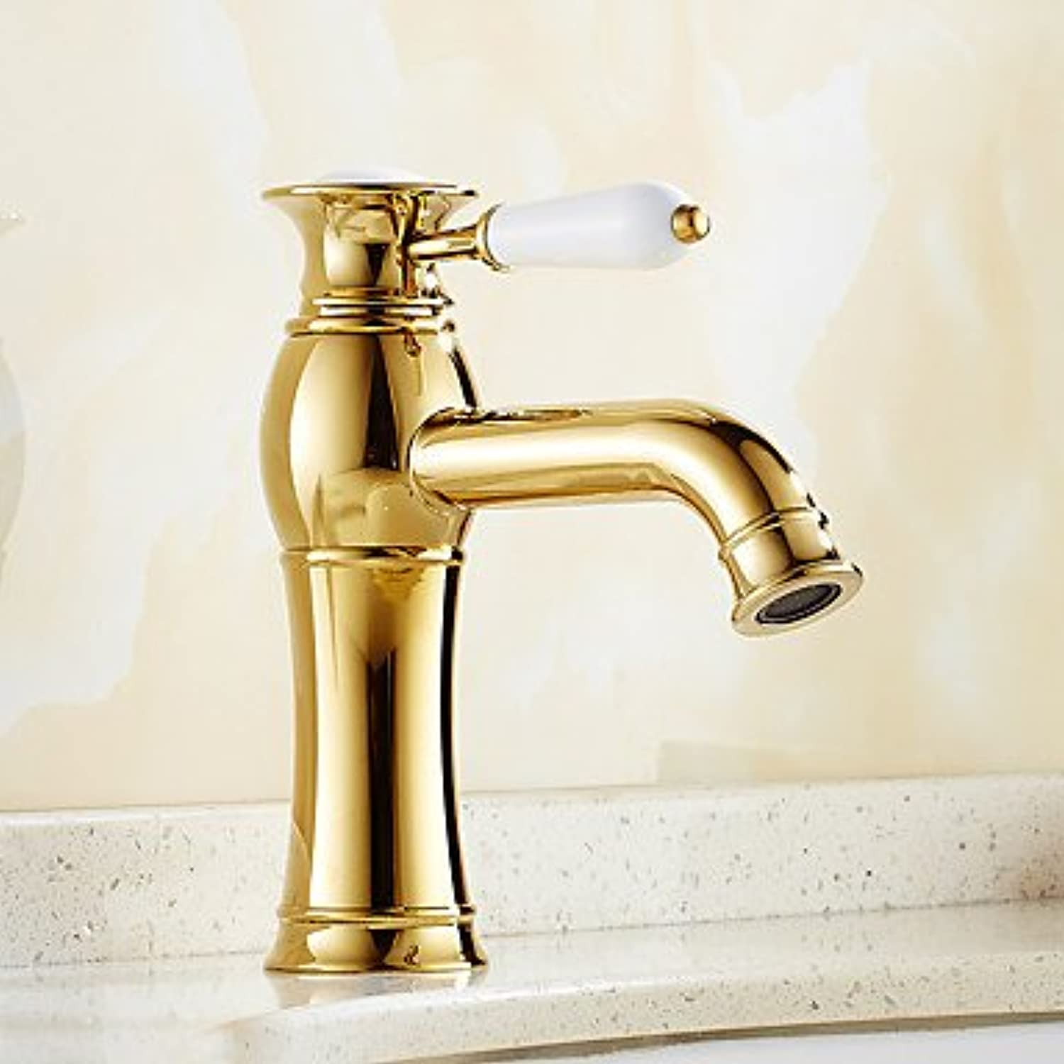 ZYT Contemporary Creative Fashion Style Brass Ti-PVD Bathroom Sink Faucet