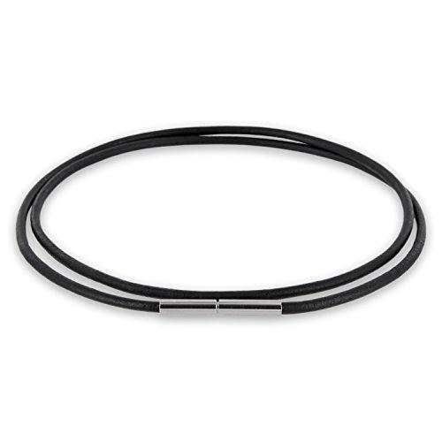 AURORIS Echtleder Kette 2 mm schwarz mit Tunnel-Drehverschluss aus Edelstahl Länge wählbar / 38 cm