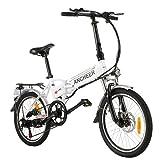 ANCHEER Bicicleta eléctrica Plegable, Bicicleta eléctrica de 20', con Batería de Litio de 36V 8Ah extraíble y 7Velocidades (AE4 Blanco)