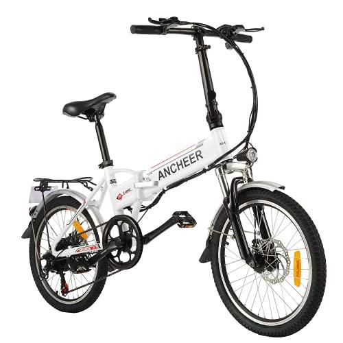 ANCHEER Bicicleta eléctrica Plegable, Bicicleta eléctrica de 20/26 Pulgadas, con Batería de Litio de 36V 8Ah extraíble y 21 Velocidades (AE4 Blanco Rojo)