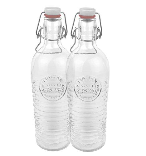 Bormioli 2er Set Glasflasche Officina 1825 - geriffelte 1,2 Liter Flasche mit Bügelverschluss und Relief Verzierung, 4250857232383