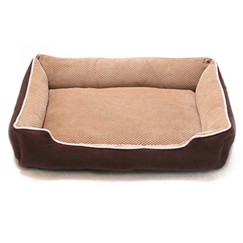 GFQ Orthopädisches Hundebett Memory Foam Haustierbett mit abnehmbarem waschbarem Bezug Rechteckiges waschbares Haustierbett mit Fester atmungsaktiver Baumwolle für Katzenbett-Khaki-90 * 70 * 16cm
