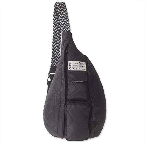 KAVU Rope Puff Bag Sling Crossbody Backpack Travel Quilted Purse - Black