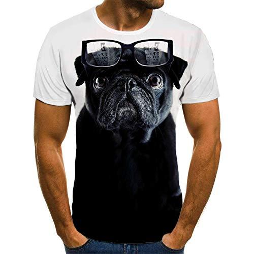 HGFHKL Perro Divertido con Gafas Camiseta para Hombre Tops para Hombre Camiseta Casual de Verano en 3D Camisa con Cuello en O para Hombre Ropa de Calle